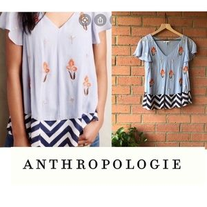 {Anthro} Floreat Floral Embroidered Top | Sz 0